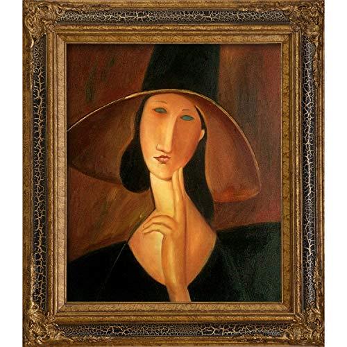 overstockArt Portrait der Frau im Hut Jeanne Hebuterne in großer Hut, 1917, gerahmtes Ölgemälde von Amedeo Modigliani - Amedeo Modigliani Gerahmte Leinwand