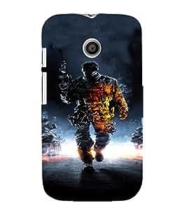 PrintVisa Army Commando Design 3D Hard Polycarbonate Designer Back Case Cover for Motorola Moto E