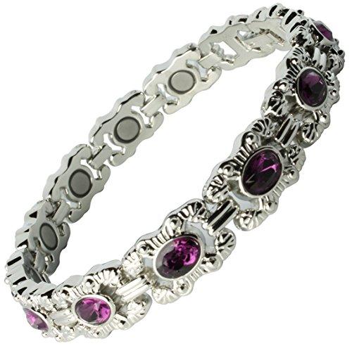 Damen Armband, mit Magneten, zur Arthritis-Schmerzlinderung, silberfarben
