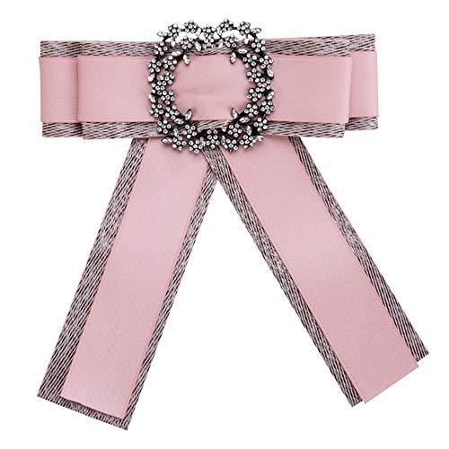 ZSRHH-Neckchiefs Halstücher Damen Krawatte Shirt Schmuck Fliege Bow Ribbon Strass Hochzeit Party Mädchen (Farbe : Rosa) (Ribbon Ware Pink)