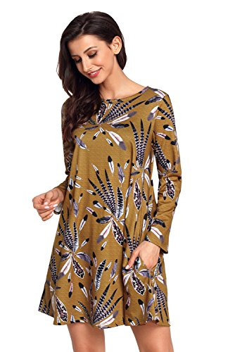 TOUVIE Damen Langarm Tasche Casual Loose T-shirt Kleid A-Linie Tunika Mini Kleid Gr.36-48 Senfgelb