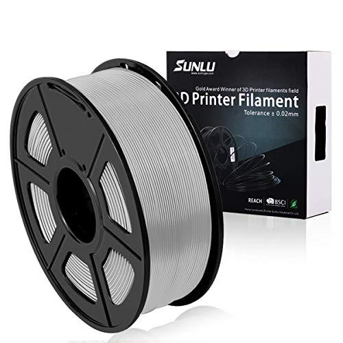 Filamento PLA Plus de la impresora SUNLU 3D, filamento PLA de 1.75 mm, filamento de impresión 3D de bajo olor, precisión dimensional +/- 0.02 mm, filamento 3D del carrete 3D,plata PLA +