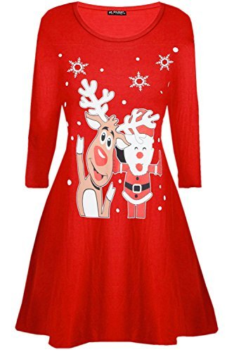 Be Jealous Damen Santa Rentier Wall Schneeflocken Kostüm Weihnachten Swing Kleid UK Übergröße 8-26 - winkender Santa Rentier rot, M/L (UK (Damen Kostüme Weihnachten Für)