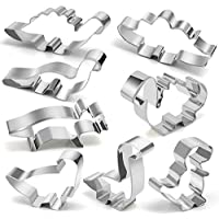 Dinosaur Cookie Cutter Set - Joyoldelf 8 Pcs Biscuit Cutter Stainless Steel Mould for DIY Fondant Dough Sugarcraft Pastry Cake Decoration