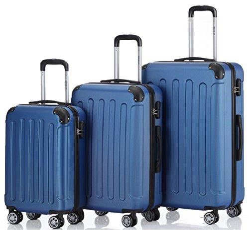 Zwillingsrollen 3 tlg.2045 neu Reisekofferset Koffer Gepäckset Kofferset Trolleys Hartschale in 14 Farben (Blau)
