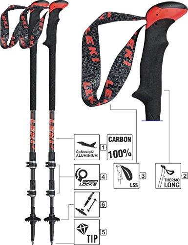 LEKI Carbon Ti. System Trekking Stock, Black/Anthracite/White/Neon Red, One Size