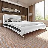 tidyard Cadre de Lit en Similicuir avec Pieds Design Elégant Blanc Noir 200x180 cm