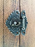 Verschlussriegel C110, kunstvoller Schnappverschluss mit Schrauben, antik-bronzene Oberfläche
