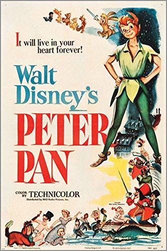 Peter Pan (RKO 1953) Vintage Póster de la película Musical de Walt Disney Kids 24x 36Nueva-2A 5días envío de EE. UU