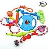 Ciaoed Hundespielzeug für aggressive Hundekauen-Spielwarengeschenke Interessanter Hund wechselwirkendes Spielwaren 100% sicheres Bestes für kleine mittlere große Hunde 10 Satz umfassen Seilball für Hundegeschenke