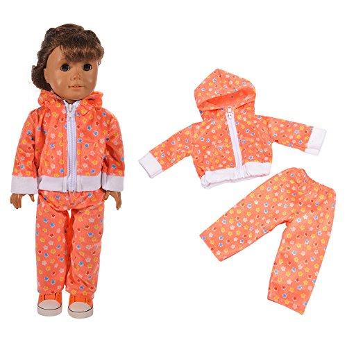 Conjunto de Pijamas con Estampado de Leopardo Top con Capucha con Cremallera + Pantalones para 18 Pulgadas Muñeca Americana Chica Gusspower