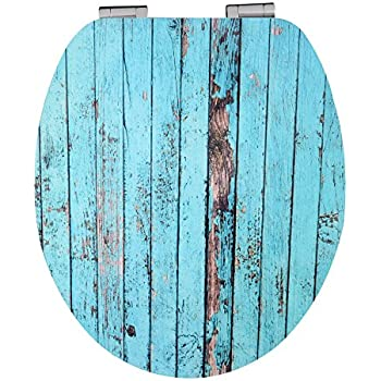 Eisl High Gloss Blue Wood Effect Toilet Seat With Acrylic Coating - Blue soft close toilet seat