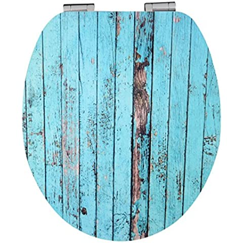 Eisl EDHGBW01UK - Alta sedile del water gloss con un design di legno blu e soft-close