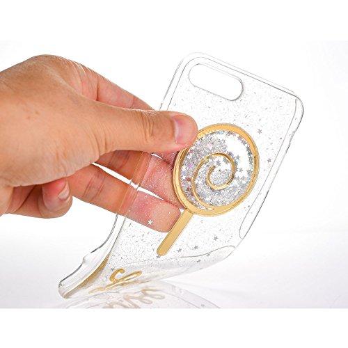 Glitter Étui Housse pour iPhone 6/6S (4.7 inch) + [Support d'Anneau], Bonice Cristal Clair Miroir Cas Case avec 360 Degrés Rotation Bague, Luxe Bling Sparkle Strass Souple Soft Gel TPU Caoutchouc Bump E - Bonbon