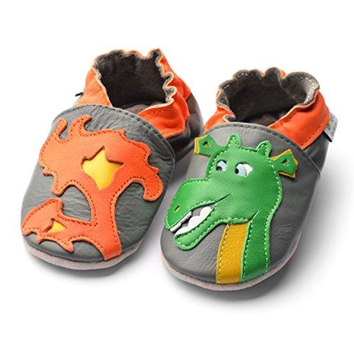 Jinwood designed by amsomo - Jungen - Maedchen - Hausschuhe - ECHT LEDER - Lederpuschen - Krabbelschuhe - soft sole / mini shoes div. Groeßen dragon grey soft sole