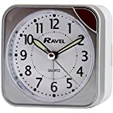 RAVEL SQUARE SILVER BEEP ALARM CLOCK WITH LIGHT RC001.02