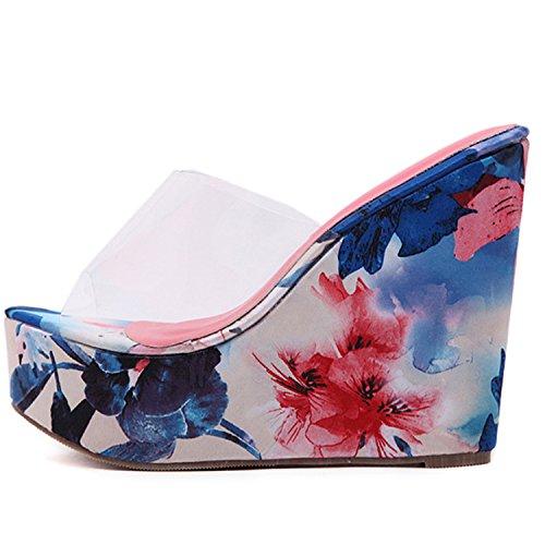 Oasap Women's Transparent Wedge Platform Slip-on Floral Sandals blue