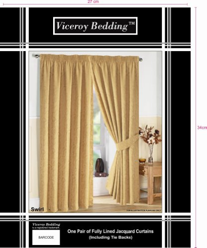 Pair of Fully Lined GOLD 46″ Width x Drop 90″ JACQUARD SWIRL DESIGN Pencil Pleat Curtains with Matching Tiebacks by VICEROY BEDDING