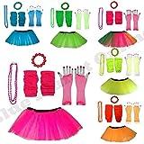 Plus Size 16-24 - Neon Tutu Skirt, Fishnet Gloves, Legwarmers, Beads Necklace & Chunky Bracelet 1980s Fancy Dress