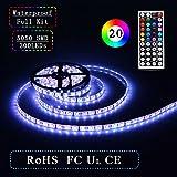 Simfonio® Led Strip-Tira de iluminación LED (5 m, 300 LED's, 60 LED's por Metro, con Mando a Distancia de 44 Teclas, Controlador LED RGB con Fuente