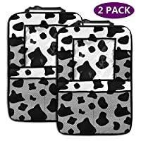 AGnight Cow Print Personalized Backseat Car Organizer, Kick Mats Car Back Seat Protector for Toys Book Bottle Drinks Travel Accessories, 2 Pack