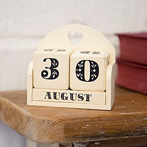 Pretty Cream Painted Wooden Perpetual Calendar Block with Heart Detail,