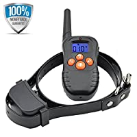 DW87N Remote Dog Training Collar Rechargeable and Waterproof Anti Barking Collar with Beep,Vibration & Blue Backlight Screen No-Shock Vibration Bark Control Collar for 1 Dog, 200 Meters (218 yards/656 ft)