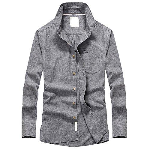 TAPOO Hombres Camisetas de manga larga, 100% Algodón Botón Abajo Casual Camisas Grau
