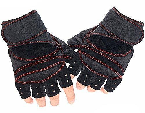 Freizeit Fitness Handschuhe Half-Finger Outdoor Kletterhandschuhe Reitausrüstung Hantel Training Sports Anti-Skid-Rot