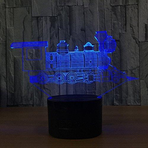 ZNND USB Lade 3D Illusion Effekt Zug Nachtlicht 7 Farbwechsel Kinder Baby Zimmer Dekoration, Geburtstag / Urlaub Geschenke für Kinder