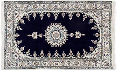 Lifetex.eu Hochwertiger Orientteppich Nain-Muster (ca. 125x195 cm) · Klassisch · handgeknüpft · Schurwolle mit Seide (<5%) · Blau · Teppich · 16974 -
