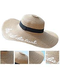 Sombrero de Paja Ajustable para Mujeres con Los Bordados Frases Do Not Disturb de Ala Ancha Grande de Para Playa Parque y Piscina de Sombrero de Playa-Caqui