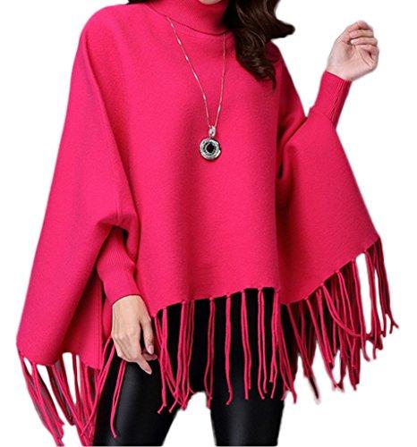 Smile YKK Hoch Kragen Quasten Muster Damen Sweater Pullover Einheitgröße Rosa