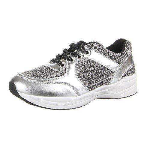 Damen Schuhe, FG-LZM002, FREIZEITSCHUHE Silber Schwarz