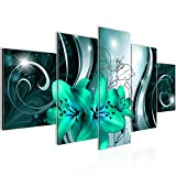 Bilder Blumen Lilien Wandbild 200 x 100 cm Vlies - Leinwand Bild XXL Format Wandbilder Wohnzimmer Wohnung Deko Kunstdrucke Türkis 5 Teilig -100% MADE IN GERMANY - Fertig zum Aufhängen 208451b