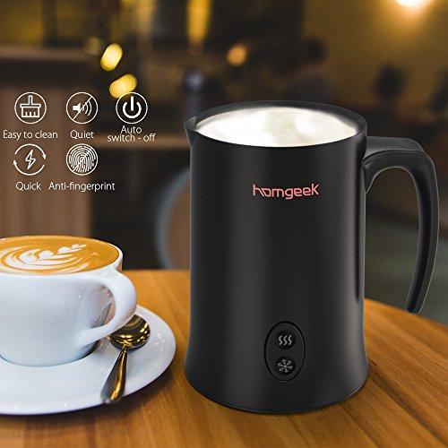 Homgeek Montalatte, Montalatte elettrico per liquidi con funzioni di latte caldo e freddo Funzionamento silenzioso, 150ml 500W, rivestimento antiaderente - 5
