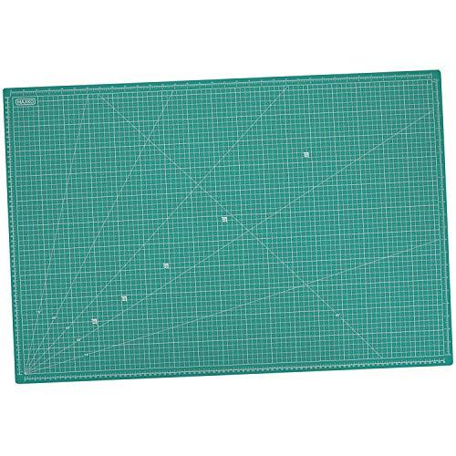 MAXKO Schneidematte 90 x 60 cm, selbstheilend, metrische Einteilung Schneideunterlage/Schreibtischunterlage / A1 / 90x60 / Winkelmaße 15° - Farblich Sortiert (Blau / Grün )