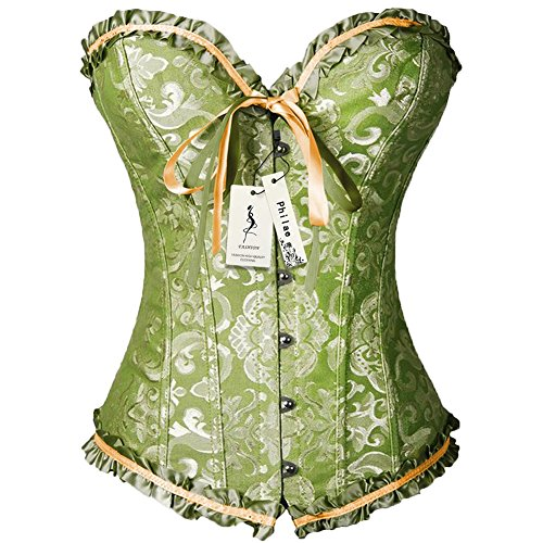 PhilaeEC Women's Plus Size Bridal Lingerie Lace up Satin Boned Corset + G-string (Greeen, S) (Plus Size Tutus)