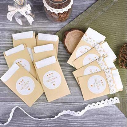 FEPITO 100 Papiertüten & 100 Freudentränen Aufkleber im Vintage-Stil für die Hochzeit | Verpackung für Freudentränen Taschentücher Hochzeit Vintage Deko (Papiertüten & Sticker)