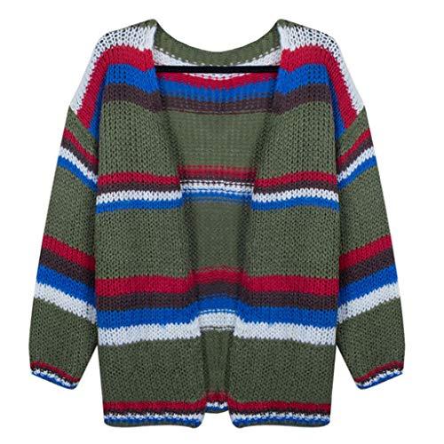 DOFENG Damen Herbst Winter Feiertags Streifen Strickjacke beiläufige gestrickte lose Lange Hülsen Pullover offene Jacke (A-Grau, XX-Large) -