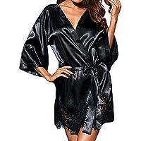 PLOT Damen Nachthemd, Frau Seide Kimono Babydoll Kleid Spitze Sexy Unterwäsche Damen Erotik Set Negligee Damen Pyjama Lingerie Erotik mit Gürtel & Thongs Höschen