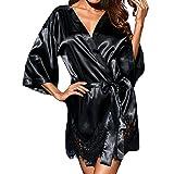 MRULIC Damen Lässige Tiefer V-Ausschnitt Pyjama Lace Trimmed Shorts Overall Nachtwäsche Mode Kurze Top Bowknot Plus Size Uniformen Hosenträger Rock Temptation Unterwäsche-Set (Schwarz,EU-44/CN-3XL)