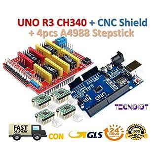 【3D printer kit】 CNC Shield V3.0 + UNO R3 Board + 4pcs Stepper motor controller A4988 with heat sink for 3D printer | 【3D Drucker Kit】 CNC Schild V3.0 + UNO R3 Board mit USB-Kabel + 4pcs Schrittmotor Controller A4988 mit Kühlkörper für 3D-Drucker