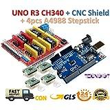 CNC Shield V3.0 + UNO R3 Board + 4pcs Stepper motor controller A4988 with heat sink for 3D printer   CNC Shield V3.0 + UNO R3 Board + 4pcs Controlador de motor de pasos A4988 para impresora 3D