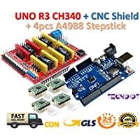 【3D printer kit】 CNC Shield V3.0 + UNO R3 Board + 4pcs Stepper motor controller A4988 with heat sink for 3D printer | 【3D Drucker Kit】 CNC Schild V3.0 + UNO R3 Board mit USB-Kabel + 4pcs Schrittmotor Controller A4988 mit Kühlkörper für 3D-Drucker