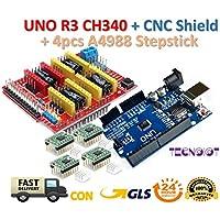 CNC Shield V3.0 + UNO R3 Board + 4pcs Stepper motor controller A4988 with heat sink for 3D printer | CNC Shield V3.0 + UNO R3 Board + 4pcs Controlador de motor de pasos A4988 para impresora 3D