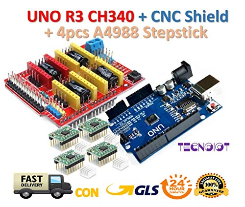 TECNOIOT 【3D Printer Kit】 CNC Shield V3.0 + UNO R3 Board + 4pcs Stepper Motor Controller A4988 with Heat Sink for 3D Printer