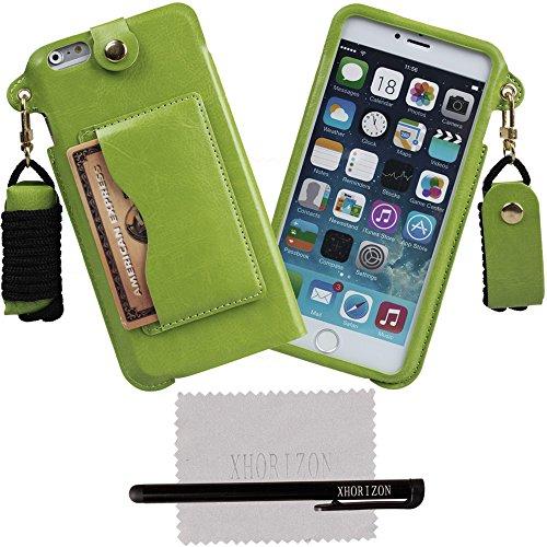 xhorizon® Tragegurt PU Leder Tasche Kartenhalter Stand Case Hülle für 5.5 Inch iPhone 6+ Plus Cyan