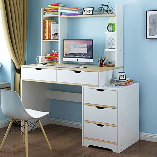 Kompakt-regale (YQ WHJB Computer Schreibtisch Mit Schubladen,computertisch Mit Regale,Studium Schreibtisch Für Zuhause Office Kompakt Workstation-g 120x45x132cm(47x18x52inch))