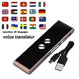 Smart Language Translator, Handheld Pocket Traducción de Voz en Tiempo Real Inglés Chino Portugués Francés Alemán Español Japonés 33 Idiomas